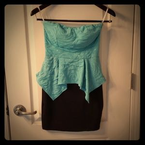 Teal and Black Body Con Dress
